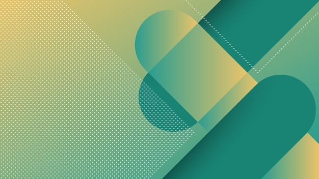 Abstracte moderne achtergrond met diagonale lijnen en memphis-element en groene tosca levendige kleurverloop