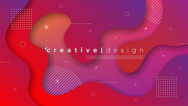Abstracte moderne achtergrond met vloeibaar vloeibaar element en gradiëntkleur.