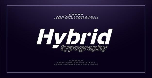 Abstracte moderne alfabet cursieve lettertypen en cijfers. typografie dunne lijn sport spel muziek toekomst creatief stedelijk lettertype ontwerpconcept.