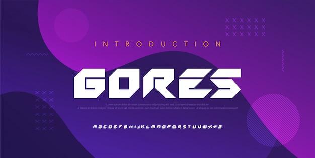 Abstracte moderne alfabetlettertypen. typografie elektronische digitale game muziek toekomstige creatieve lettertype ontwerpconcept. illustratie