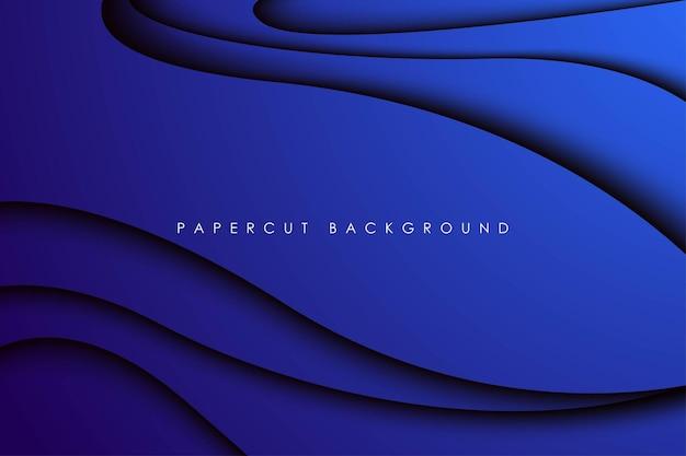 Abstracte moderne blauwe golvende papercut-achtergronddimensielagen