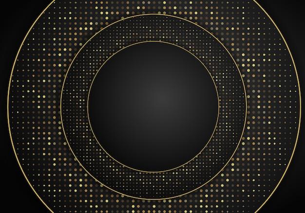 Abstracte moderne donkere achtergrond met overlappende lagen. realistische textuur met gouden stippen element, glanzende lichteffect cirkel glitters. technologie ontwerpsjabloon.