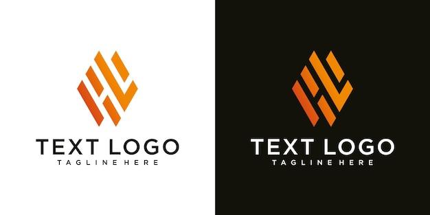 Abstracte moderne eerste letter hl hl logo teken ontwerpsjabloon