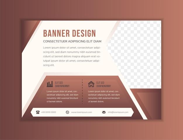 Abstracte moderne flyer ontwerpsjabloon gebruik horizontale lay-out platte zachte bruine achtergrond