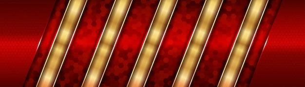 Abstracte moderne futuristisch van rood en goud metallic richting luxe overlappingsontwerp
