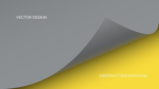 Abstracte moderne gele en grijze kleuren in de vorm van een gekrulde pagina met een schaduw.