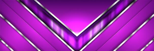 Abstracte moderne geometrische paarse metalen 3d banner