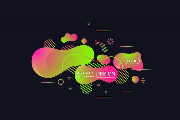 Abstracte moderne grafische elementen. gradiënt abstracte banner met vloeiende vloeibare vormen.