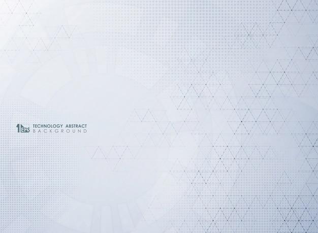 Abstracte moderne grijze technologie van geometrische decoratie met halftoonpatroon.