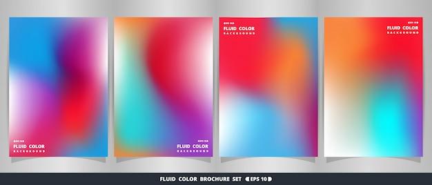 Abstracte moderne levendige vloeibare kleurrijke brochure set.