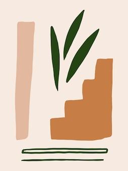 Abstracte moderne moderne vormposter uit het midden van de eeuw minimalistische trendy vormenkunst