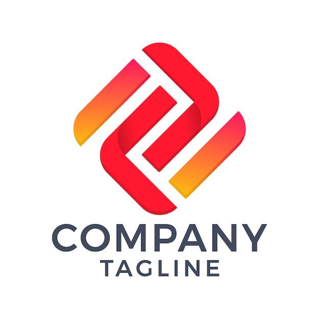 Abstracte moderne monogram letter z en nummer 2 vierkant rood schoon logo-ontwerp