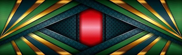 Abstracte moderne rood-groene ontwerp veelhoekige achtergrond met gouden lijn