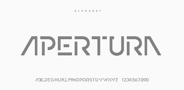 Abstracte moderne stedelijke alfabet lettertype. typografietechnologie, elektronisch, film, digitaal, muziek, toekomst, logo creatief lettertype.