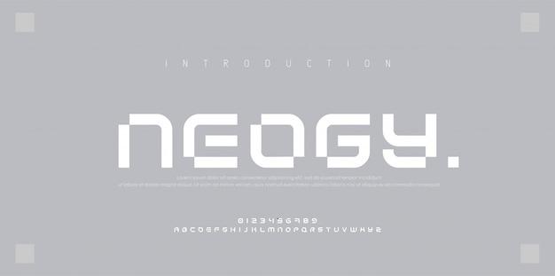 Abstracte moderne stedelijke alfabetlettertypen. typografie sport, eenvoudig, technologie, mode, digitaal, toekomstig creatief lettertype