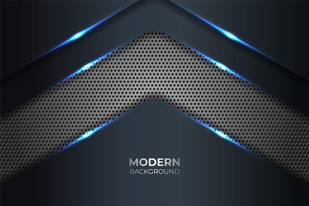 Abstracte moderne technologie glanzend blauw met grijze metalen achtergrond