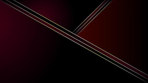 Abstracte moderne veelhoekige vormen lijn goud op donkerrode achtergrond met kleurovergang