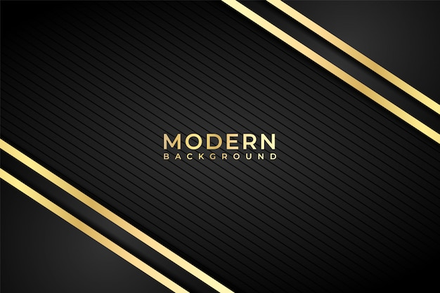 Abstracte moderne zwarte achtergrond met diagonale gouden lijnen.