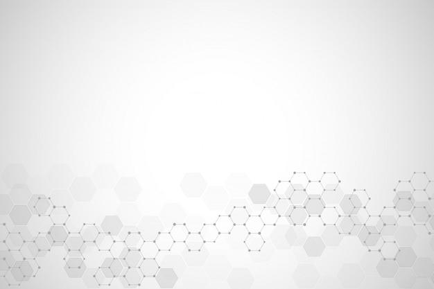 Abstracte moleculaire structuur en chemische elementen.