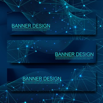 Abstracte moleculen banners instellen met lijnen, stippen, cirkels, veelhoeken. ontwerp netwerkcommunicatie achtergrond. futuristische digitale wetenschap technologie concept