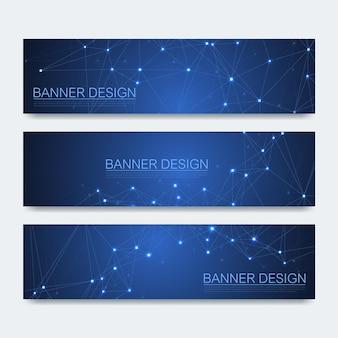 Abstracte moleculen banners set met lijnen, stippen, cirkels, veelhoeken. vector ontwerp netwerk communicatie achtergrond. futuristisch digitaal wetenschapstechnologieconcept voor websjabloon voor spandoek of brochure.