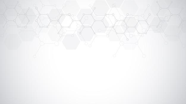 Abstracte moleculen op zachte grijze achtergrond. moleculaire structuren of chemische engineering, genetisch onderzoek, technologische innovatie. wetenschappelijk, technisch of medisch concept. Premium Vector