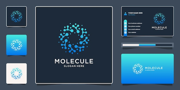 Abstracte molecuul met cirkelvormig logo-ontwerp en visitekaartjeontwerp