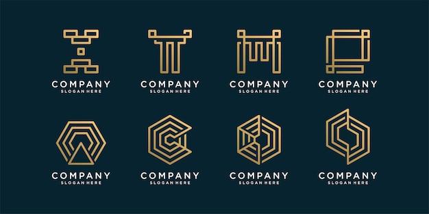 Abstracte monogram logo-collectie met gouden lijnstijl