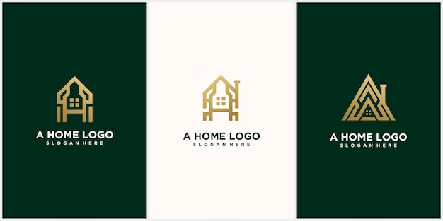 Abstracte monogram logo e brief ontwerpset, in gouden kleur