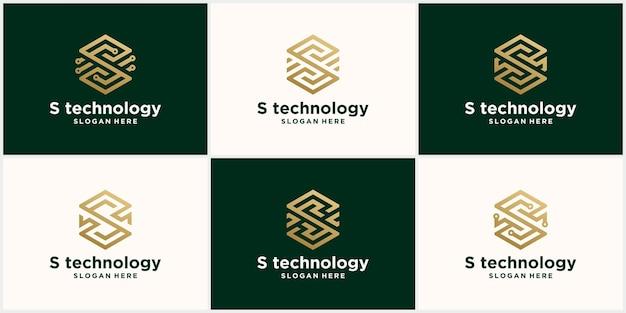 Abstracte monogram logo g brief ontwerpset, in gouden kleur