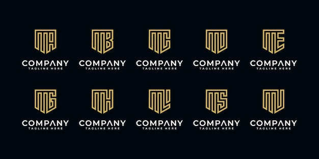 Abstracte monogram logo letter m en etc zakelijke gouden logo-collectie