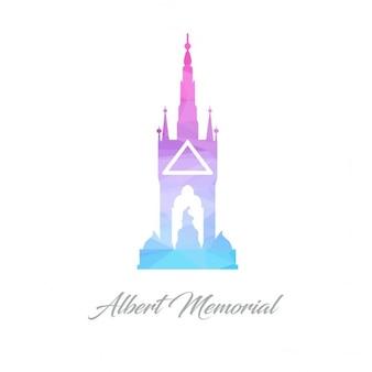 Abstracte monument logo voor de albert memorial gemaakt van driehoeken