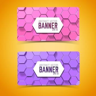 Abstracte mozaïek geometrische horizontale banners met paarse en roze zeshoeken
