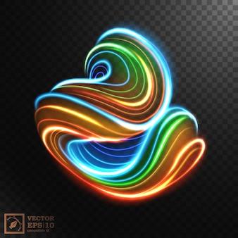 Abstracte multicolor swirl line of light, geïsoleerd op donkere achtergrond.