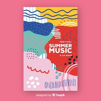 Abstracte muziek festival poster in handgetekende stijl