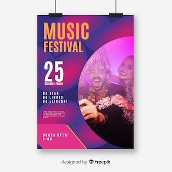 Abstracte muziek festival poster met foto