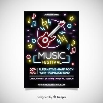 Abstracte muziek festival poster sjabloon