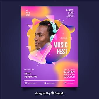 Abstracte muziek festival sjabloon met foto