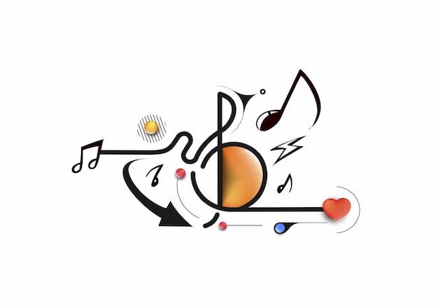 Abstracte muziek notities banner ontwerp, platte lijn kunst vectorillustratie.
