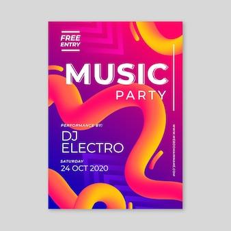 Abstracte muziek parte poster sjabloon