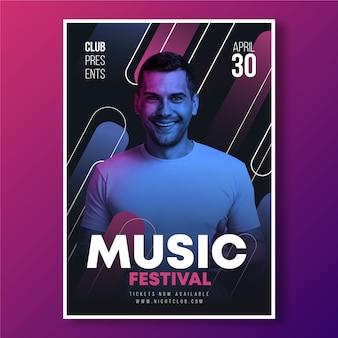 Abstracte muziek poster sjabloon concept