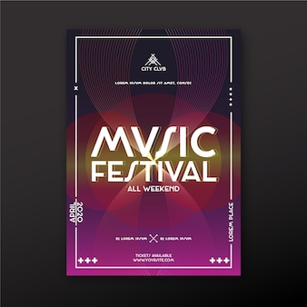 Abstracte muziek poster sjabloonontwerp
