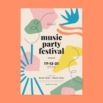Abstracte muziekfestival afdruksjabloon