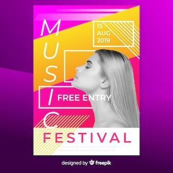 Abstracte muziekfestivalaffiche met foto