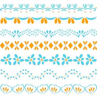 Abstracte naadloze patronen. blauw en oranje. abstracte bloemen en bladeren. vector illustratie.