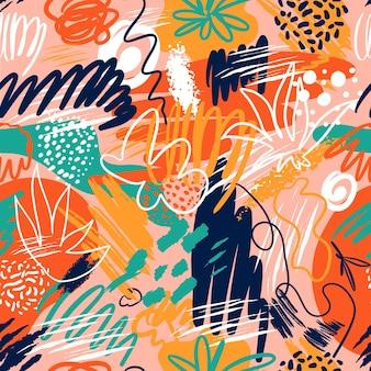 Abstracte naadloze patronen met hand getrokken texturen in de stijl van memphis, trend.