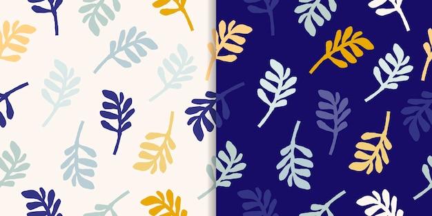 Abstracte naadloze patronen set met doodles vormen, kleurrijke bladeren, modern design