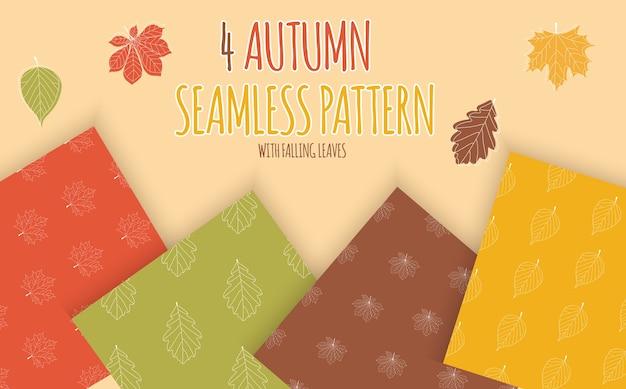 Abstracte naadloze patroon achtergrond met vallende herfstbladeren. Premium Vector