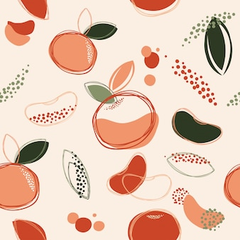 Abstracte naadloze patroon achtergrond sinaasappel of tangerine tekening kunst vector en illustratie