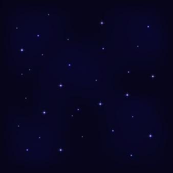 Abstracte nacht sterrenhemel op donkerblauwe achtergrond met heldere sterren.